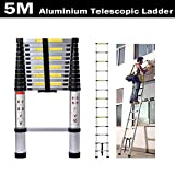 5M Telescopic Ladder Aluminium Portable Multi-Purpose Folding Extension Ladders EN 131 for Outdoor & Indoor Builder DIY Projector Easy Carry 150kg/330lbs Max. Load