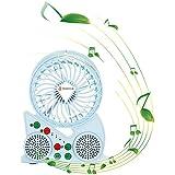 USB Mini fan with speakers,Portable Mini fan, Mini rechargeable cooling fan (BLUE)