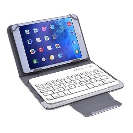 DealMux PU PC Leather Bluetooth destacável sem fio de couro Keyboard Cover Branco w Suporte para