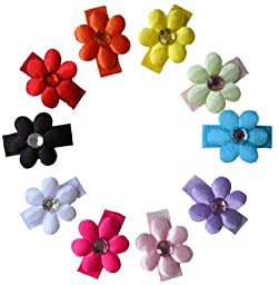 10 Piece Satin Flower Girls Hair Clip Set and Free Hair Bow Holder(Baby Snap Clip- Fine Baby Hair)