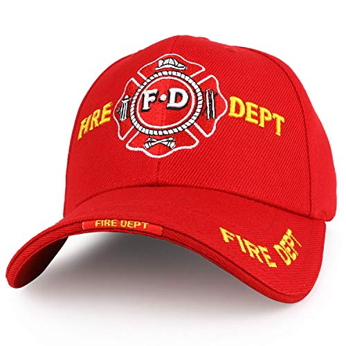 Trendy Apparel Shop Fire FD Solid Color 3D Embroidered Baseball Cap - Red (Fire Dept Embroidery)