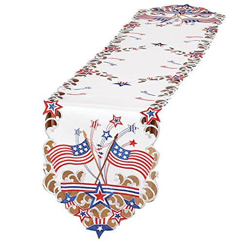 Collections Etc Embroidered Americana Flag Table Linens, Runner