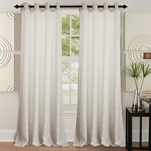 RT Designers Collection, White Napa Jacquard 54 x 84 in. Grommet Curtain Panel (Collection Bedroom Napa)