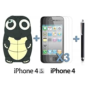 Turtle Style 3D Silicone For Iphone 5/5S Case CoverBlack with 3 Screen Protectors and Stylus