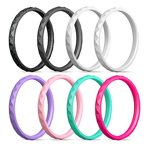 Egnaro Silicone Wedding Ring for Women,Silicone Wedding Ring Thin-Silicone Stackable Rings, Wedding Bands-Stylish Pattern -Comfortable fit&Skin Safe
