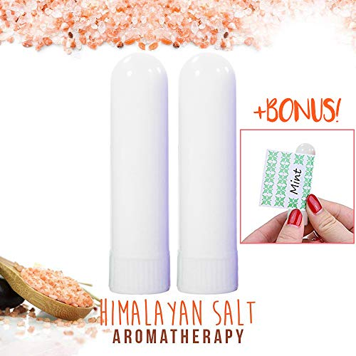 (Pink Himalayan Salt Personal Inhaler (2 Pack) for Sinus Lung Asthma Cold Bronquitis Cough Allergies Relief   100% Natural Healing Aromatherapy to Treat Breathing Problems, Travel Pocket Filled Tubes)