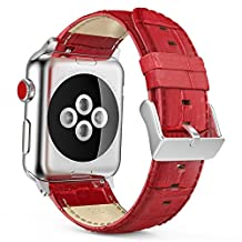 MoKo Strap for Apple Watch Series 3 Bands, Premium Genuine Leather Crocodile Pattern Replacement Strap with Connectors for iWatch 38mm 2017 Series 3 / 2 / 1, RED (Not Fit Apple Watch 42mm Versions)