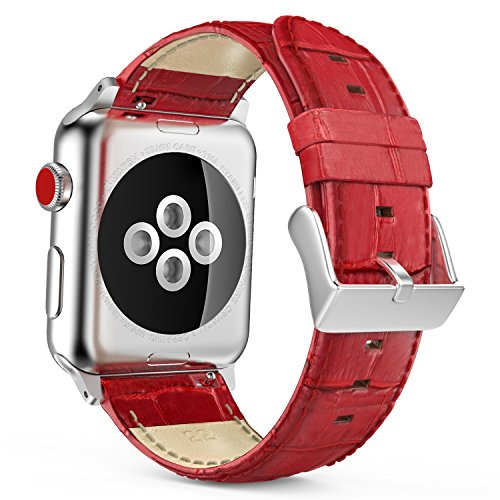 Genuine Crocodile Band (MoKo Band for Apple Watch Series 3 Bands, Premium Genuine Leather Crocodile Pattern Replacement Strap with Connectors for iWatch 38mm 2017 Series 3 / 2 / 1, RED (Not Fit 42mm Versions))