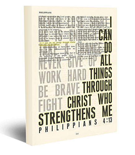 I can do all things through Christ who strengthens me - Philippians 4:13 -Vintage Bible page verse scripture - Christian wrapped art CANVAS, dictionary wall & home decor