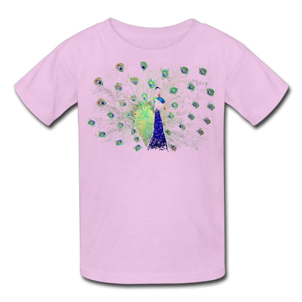 Moniery Short-Sleeves Tee Peacock Sparse Feathers Youth Girl