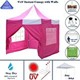 Cheap 8'x8′ Pink White – EZ Pop up Canopy Party Tent Instant Gazebo 100% Waterproof Top with 4 Removable Sides – By DELTA Canopies