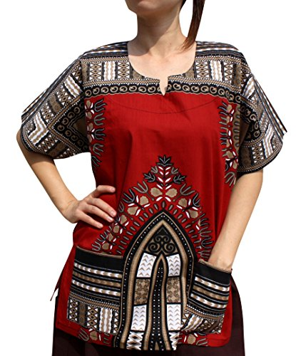 RaanPahMuang Traditional Afrika Print African Dashiki Freedom Shirt, X-Large, Dark Red Brown by RaanPahMuang