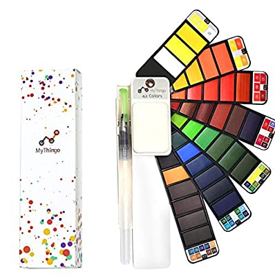Watercolor Paint Set, Artist Foldable and Portable Pocket Travel Kit with Water Brush for Outdoor Painting and Sketching | Art Supplies for Adults, Students, Kids | Palette with 42 Assorted Colors