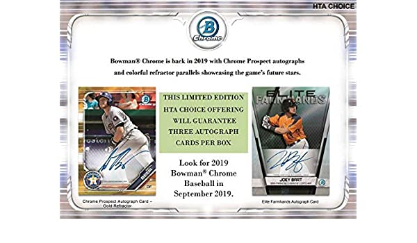 Amazoncom 2019 Bowman Chrome Baseball Hta Box 3 Autographs
