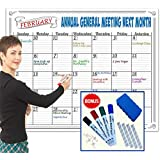 JUMBO Large Dry Erase Calendar Wall Hanging Classroom Decorations 2018 2019 Teacher Supplies Fun Activity Tracker Kids Chart Poster Organizer Weekly Planner Markers Eraser Office Organization 36x48 in