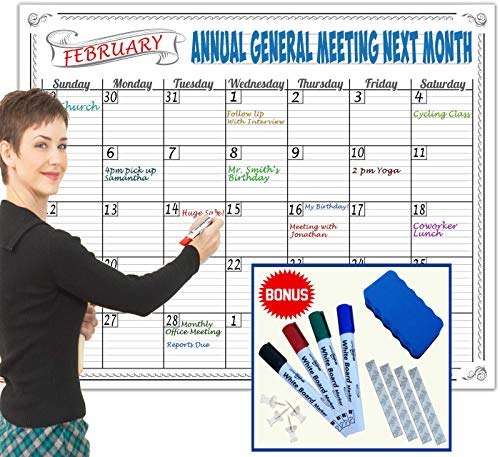 JUMBO Large Dry Erase Calendar Wall Hanging Classroom Decorations 2018 2019 Teacher Supplies Fun Activity Tracker Kids Chart Poster Organizer Weekly Planner Markers Eraser Office Organization 36x48 ()