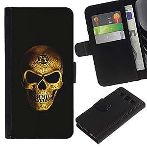 Be-Star la tarjeta de Crédito Slots PU Funda de cuero Monedero caso cubierta de piel Para Samsung Galaxy S3 III I9300 ( Gold Skull Nefarious Scary Bling Biker )