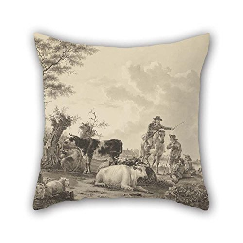Oil Painting Jacob Van Strij (Dutch - Landscape with Cattle, Sheep, and Herders Throw Pillow Covers Best for Lover Bedroom Shop Kitchen Home Theater Floor 16 X 16 inches / -