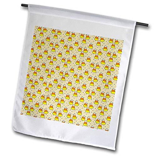 3dRose Anne Marie Baugh - Halloween - Cute Halloween Candy Corn On Polka Dots Pattern - 12 x 18 inch Garden Flag (fl_289304_1) ()