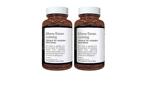 Extracto de Arándanos 10,000mg x 360 comp. (2 frascos) - 10 x más antocianidas por comp. que la mayoría - Y 5mg de extracto de pimienta negra para una ...