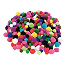 Fun Express Tiny Acrylic Craft Pom Poms - 500 Pieces - Assorted Colors and Sizes