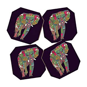DENY Designs Sharon Turner Painted Elephant Purple Coasters, Set of 4