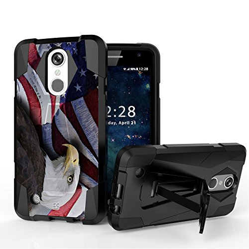Shell Case Hyber 2 For LG Aristo LV3 MS210 Hybrid PC Silicone Build-in Foldable Kickstand Heavy Duty Armor Shock Proof (Usa Flag Bald Eagle)