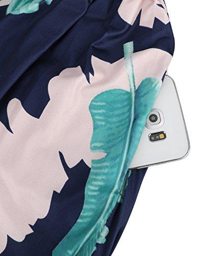Scollo Del A Con Donne Vestito Lungo Ouges 8 Floreali Maxi Modello V Pocket Z4Y5wAZq