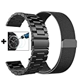 {New Year Gifts} Gear S3 Frontier / Classic Band - Small 22mm Metal Steel Band+Milanese Loop Mesh Bracelet Strap for Gear S3 Frontier SM-R770 / Classic SM-R760+Tempered Glass (Black Metal+ Mesh-Small)