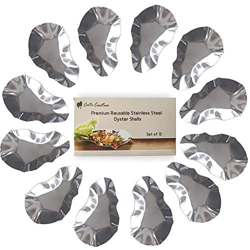 (Premium Reusable Stainless Steel Oyster Shells, Set of 12, Great for Seafood of all Kind (12 pieces per)