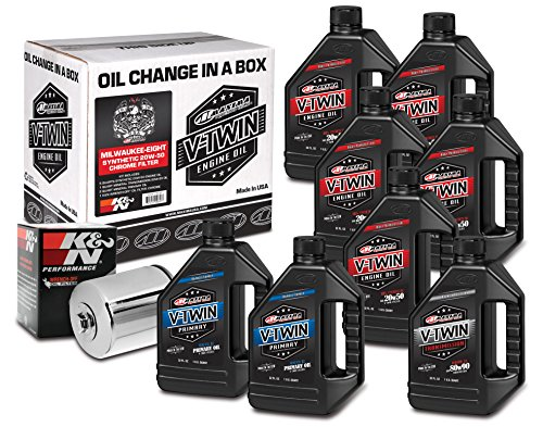 Maxima Racing Oils 90-129018C Milwaukee-Eight Synthetic 20W-50 Chrome Filter Complete Oil Change Kit, 256. Fluid_Ounces