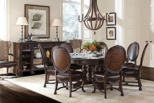 Stanley Round Dining Table (Casa D'Onore Dark Coffee 7 Piece Dining Set)