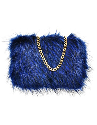 Womens Fluffy Feather Faux Fur Clutch With Chain Runway Royal Blue 2 Tone