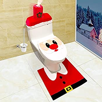 UNOMOR Santa Christmas Toilet Seat Cover And Rug Paper Box Set For Decoration