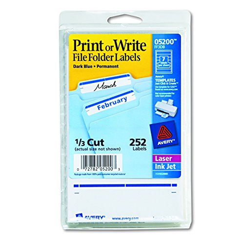 Avery 05200 Print or Write File Folder Labels, 11/16 x 3 7/16, White/Dark Blue Bar (Pack of 252) ()