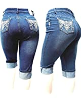 D&B PLUS SIZE WOMEN'S Stretch premium DARK BLUE denim jeans CAPRI HIGH WAIST