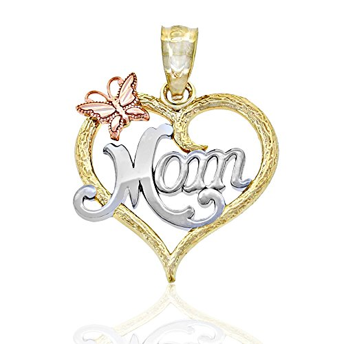 Gold Mom Inside Heart Charm, 10k Solid Gold, Mother's Day (Solid Heart Charm Gold)