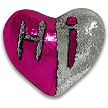 umum Mermaid Pillow with Pillow Insert, Heart Shaped two-color Decorative Reversible Sequin Pillow 13''×15'' (silver and rose)