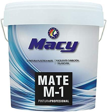 Pintura Plastica Mate Lavable Color Blanco Antimoho para Interior y Exterior en Fachadas,Muros etc -14 LTS o 24 KG -. MATE M-1 MACY