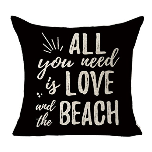 MFGNEH All You Need is Love and the Beach Home Decor Cotton Linen Pillow Covers,Summer Style Throw Pillow Case Cushion Cover 18 x 18