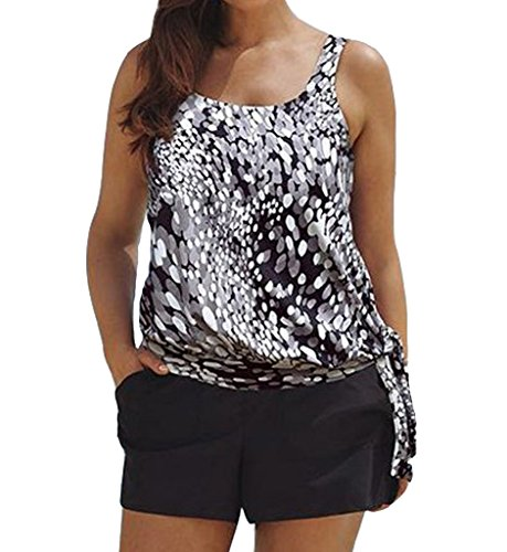 Eternatastic Women Spot Polka Dot Tankini Swimwear Two Pieces Swimsuit Set M