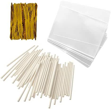 Baking Addict 100 Cake Pop Treat Bag Sets Metallic Twist Ties, Lollipop Sticks, Clear Cello Favor Bags, 4