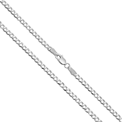 """Solid 10K White Gold 4mm Curb Cuban Chain Pendant Necklace Lobster Clasp 16/""""-30/"""""""