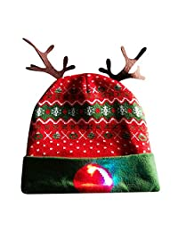 Whitegeese Christmas Novelty Light Up Hat Unisex Knitted Beanie Party Gifts