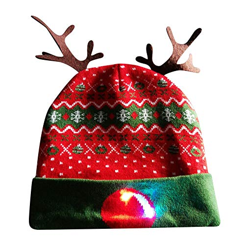 2ac8f009f6b Highpot Christmas LED Light Up Beanie Hat Flashing Knitted Cap Reindeer Pom  Beanie
