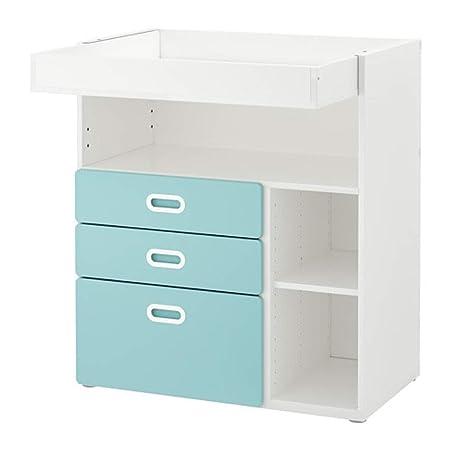 Ikea 192.531.63 - Mesa cambiadora con cajones, Color Blanco y Azul ...