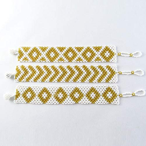 African Zulu beaded flat bracelet small - White and gold