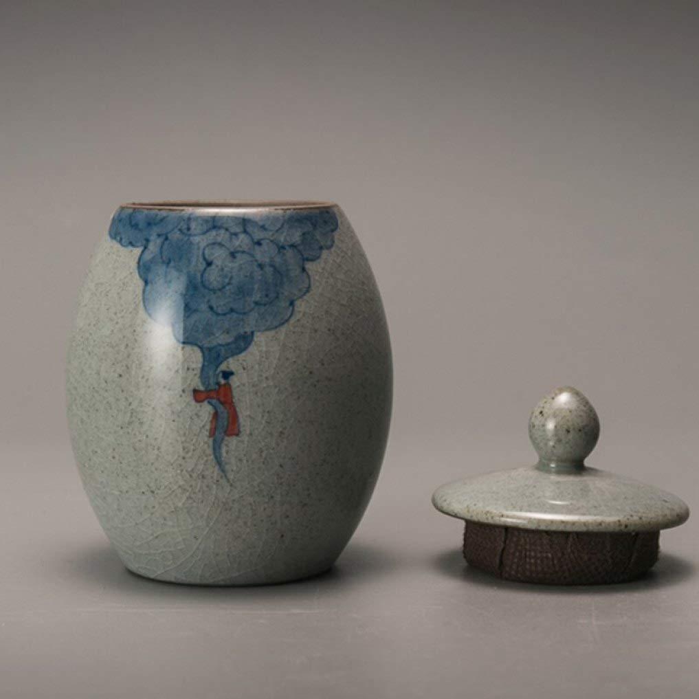 Retro Coarse Pottery Tea Caddy Hand Painted Kung Fu Tea Set Tea Cans Ceramic Sealed Jar Storage Bottle Home Decor by BERTERI (Image #3)