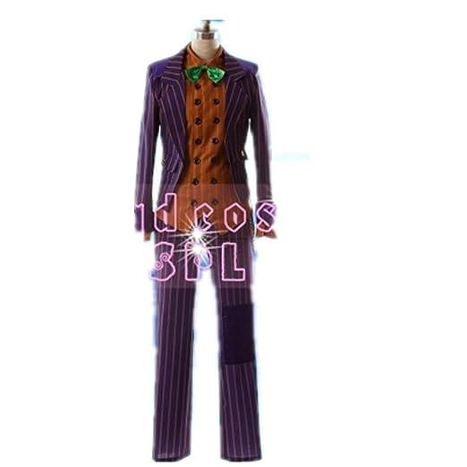 Amazon Com Arkham Asylum Joker Cosplay Costume Purple Coat Suit