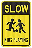 Slow Down Kids Playing Sign, Federal 12'' X 18'' 3M Prismatic Engineer Grade Reflective Aluminum, For Indoor or Outdoor Use - By SIGO SIGNS